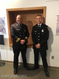 Firefighter Anthony Vetri with Chief Tom Coe at the Graduation of Recruit Class 22.